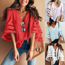 Womens Tops and Blouses Casual Loose V Neck Kimono Cardigan Chiffon Shirts Plus Size