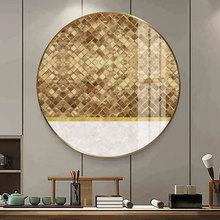 Crystal Abstract Woven gold foil frame living room decorative painting luxury modern Nordic abstract paintings Entrance mural