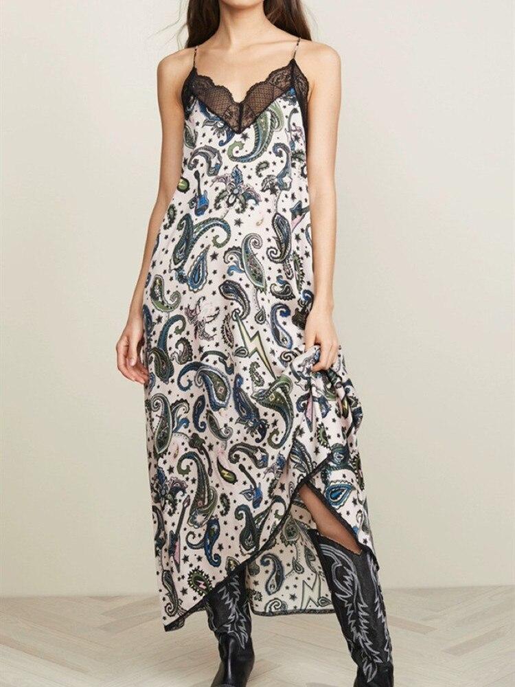 Long Dress Woman New 2019 Summer Spaghetti Strap Print Lace Sexy robe longue boheme 100 Viscose