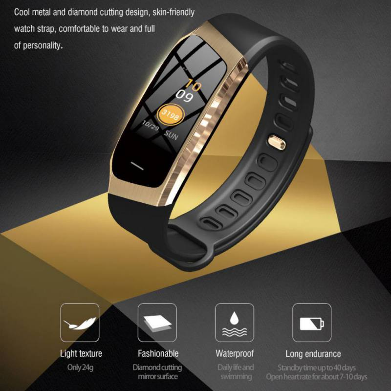 0.96 Inch TFT Color Screen Heart Rate Bracelet Colorful Screen Movement Track Step Waterproof Smart Bracelet For IOS/Android