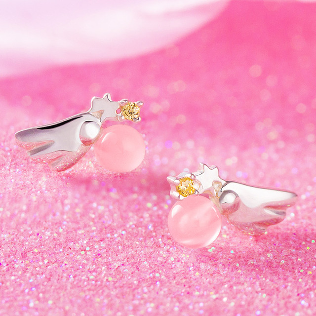 Anime Cardcaptor Sakura Earrings S925 Sterling Silver Stud Earring Jewelry  Sakura Kinomoto Cosplay Daily Props Gift 1 Pair
