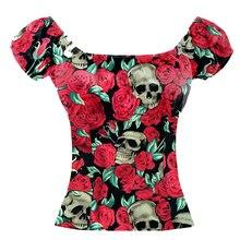 Новое Женское платье с цветочным принтом черепа Молодежные футболки в стиле панк-стрит Женская рубашка с коротким рукавом женская крестьянская одежда