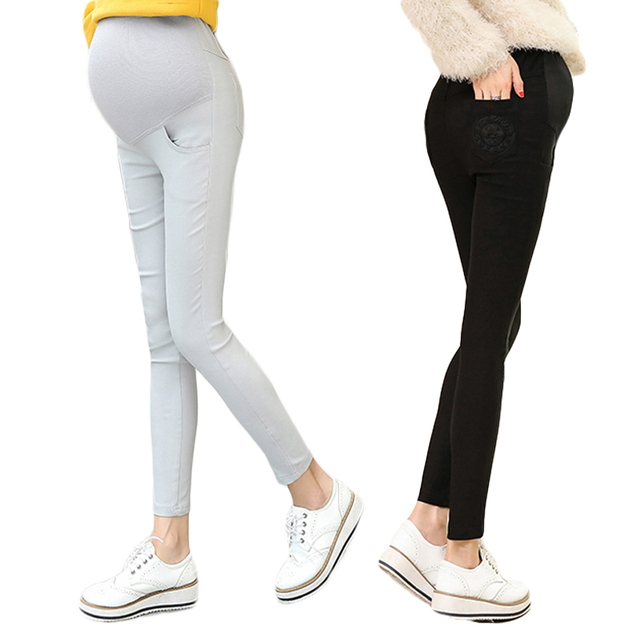 2016 Fall Pregnant women leggings MC embroidered feet pencil pants prop belly Maternity Pants outer wear trousers