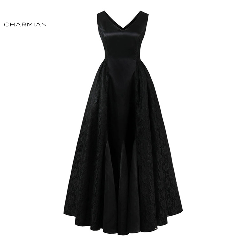 Charmian Women's Summer Plus Size Elegant Dress Sexy Black Lace High Waist Wedding Evening Party Pleated long Dress Vestidos