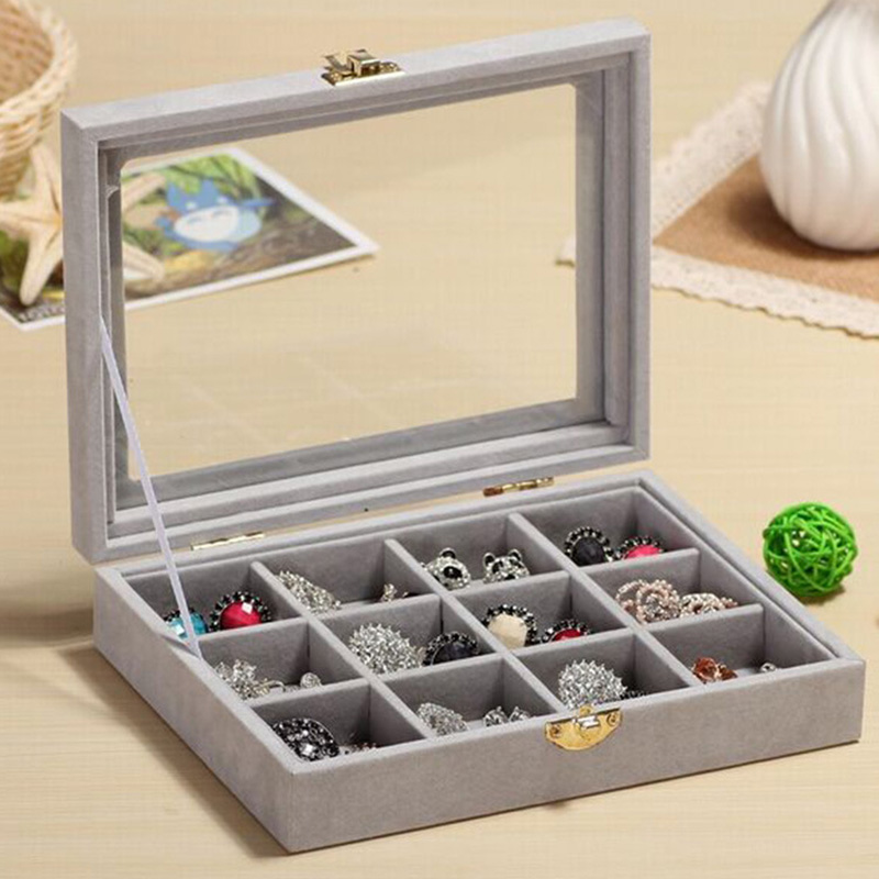 Grids Organizer Velvet Glass Jewelry Display Box Ring Organizer Case Tray Holder Earring Storage Box (4)