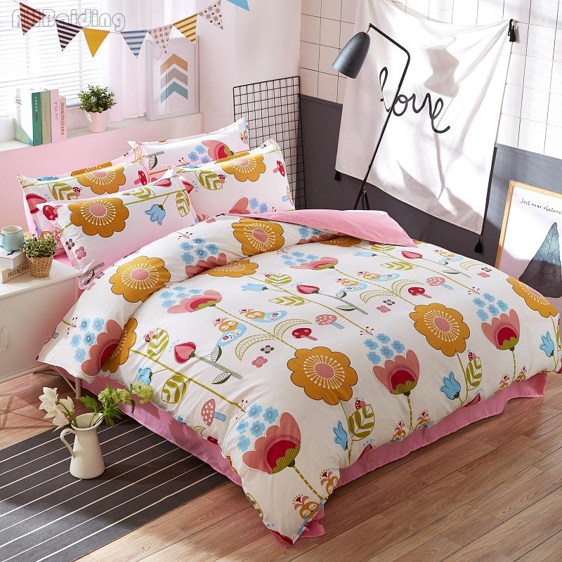 Cartoon Sunflower Printing Bedding Set 4pcs Plaid Cotton Bed Linen Kids Bedclothes Duvet Cover Set with Flat Sheet Pillowcases