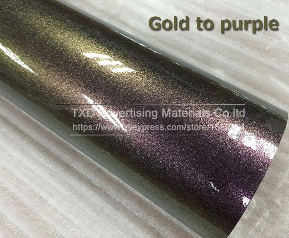 Темно-синий фиолетовый хамелеон Блестящий жемчужная виниловая оберточная пленка с пузырьками без воздуха Хамелеон блестящий фильм с 4 размерами - Название цвета: gold to purple