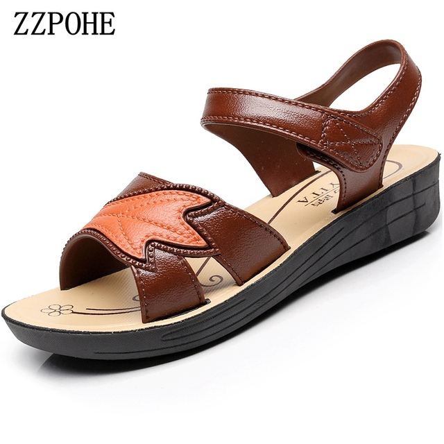 9108e983c1d73 ZZPOHE summer women shoes mother soft leather large size flat sandals middle -aged casual comfortable