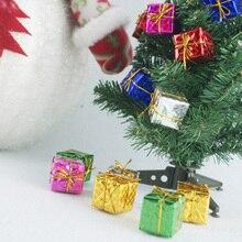 24 Pcs Mix Color Mini Gift Box Hanging Xmas Tree Ornaments New Year Christmas Decoration