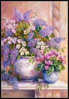 Embroidery Counted Cross Stitch Kits Needlework Crafts 14 ct DMC Color DIY Arts Handmade Decor Lilac Flowers