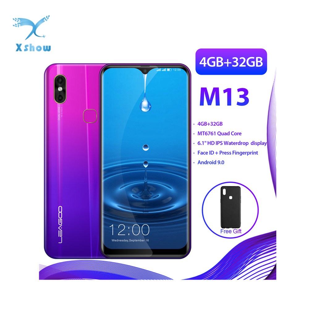 "LEAGOO M13 Android 9.0 19:9 6.1"" Waterdrop Smartphone 4GB RAM 32GB ROM MT6761 Quad Core Fingerprint Face ID 4G Mobile Phone"