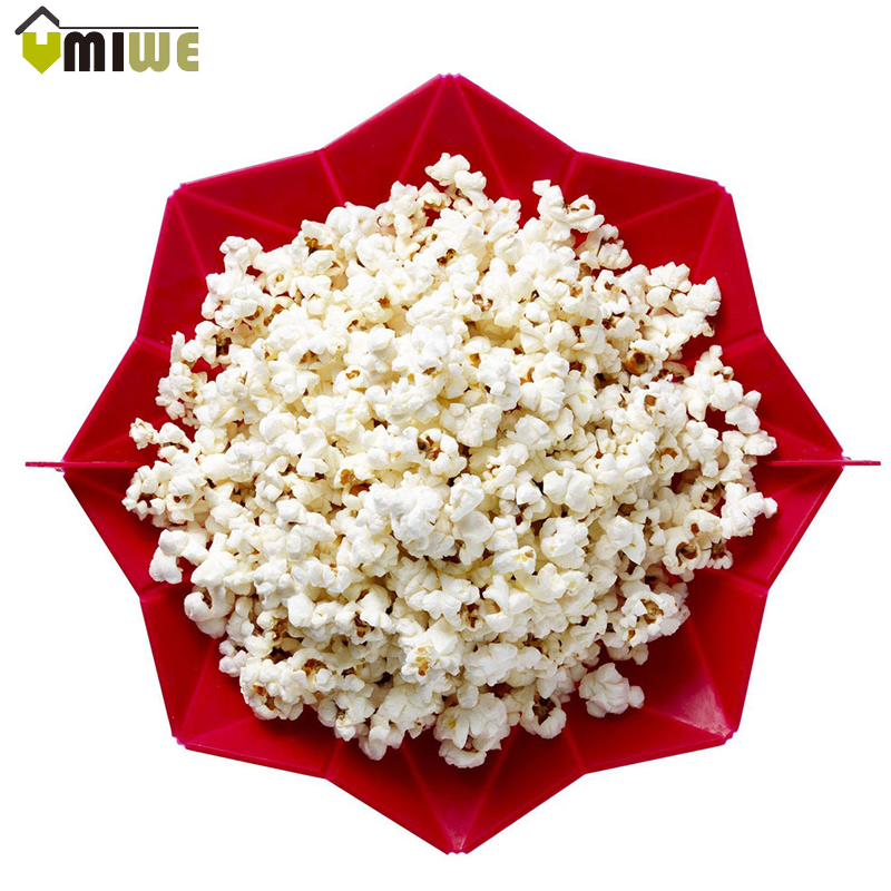 Microwaveable Popcorn Maker Foldable Pop Corn Bowl Microwave Popcorn Bucket Kitchen Bakeware Family Party DIY Popcorn Maker