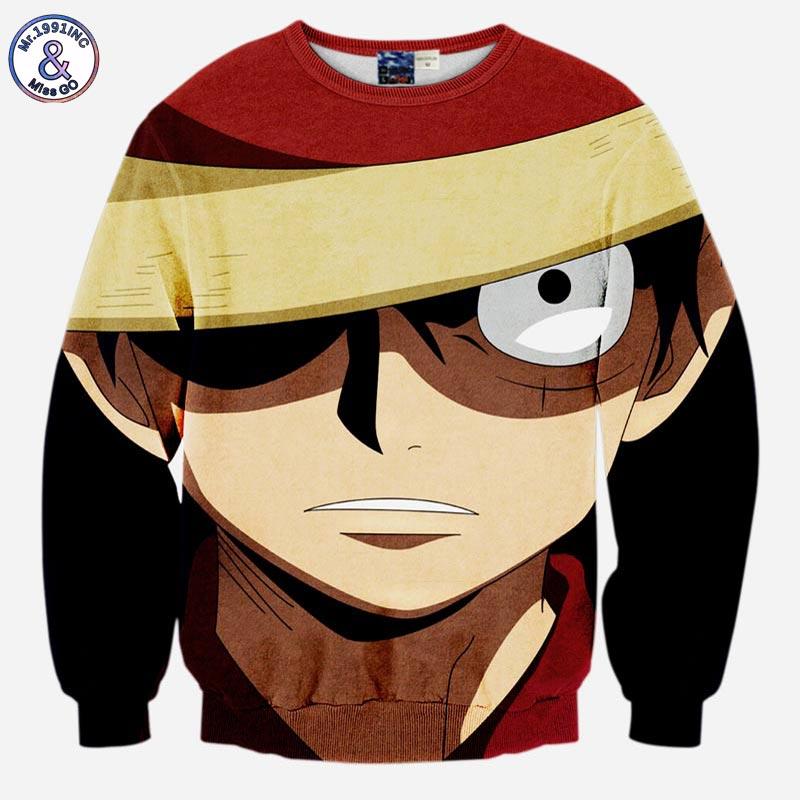 Mr.1991INC Japanese Anime New fashion Men's 3d sweatshirt funny print ONE PIECE Monkey D Luffy long sleeve hoodies slim tops