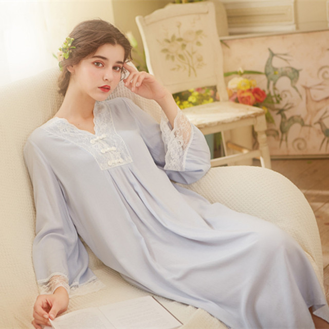 autumn winter princess beautiful nightgown retro Chinese women nightwear  court lace night dress cotton long sleeve night e46b661b7