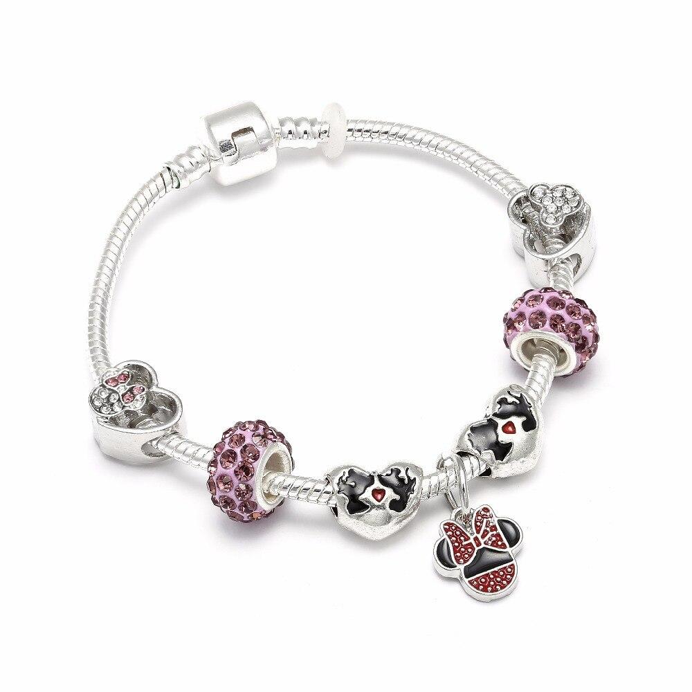 CUTEECO Mickey Minnie Charms Bracelets & Bangles For Women Children Handmade Chain Friendship Brand Bracelets Jewelry Gift пандора браслет с шармами