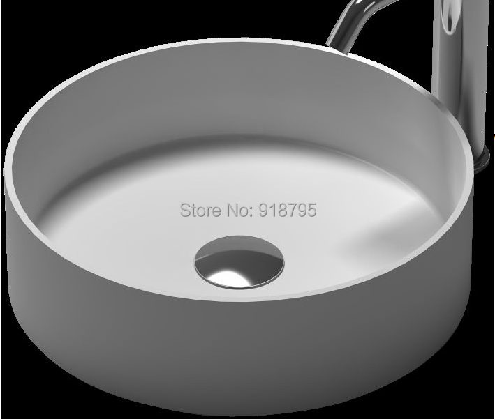 Round Bathroom Solid Surface Stone Counter Top Vessel Sink Fashionable  Cloakroom Vanity Above Corian Washbasin RS38334 429