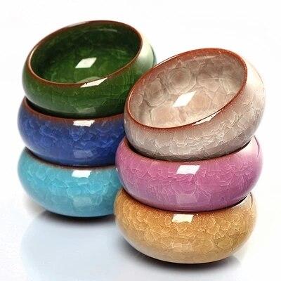 6* Tea Cups 55ML Multi Binglie Glaze Kung Fu Tea Cup,Chinese Yixing Teasets, Kung Fu Tea Set,Purple Clay Tea Cups