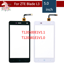 5.0 For ZTE Blade L3 T120500E1V1.1 or T120481E1V1.0 LCD Touch Screen Digitizer Sensor Outer Glass Lens Panel Replacement 4 0 for zte blade l110 lcd touch screen digitizer sensor outer glass lens panel replacement