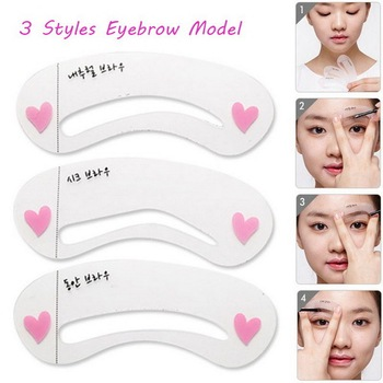 1000Sets/Lot 3 Styles Grooming Brow Painted Model Stencil Kit Shaping DIY Beauty Eyebrow Stencil Make Up Eyebrows Styling Tools