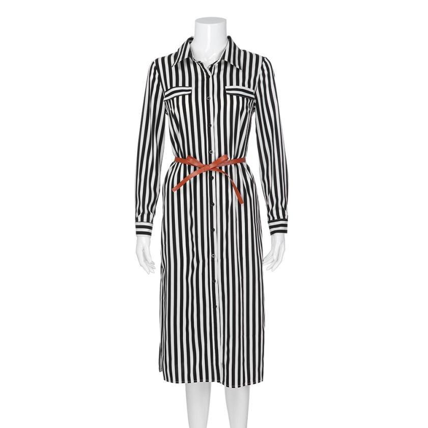 KANCOOLD Dress Women fashion Stripe Printed Long Sleeves Button Dress Bandage Belt Shirt Long Dress women 18AUG8 7