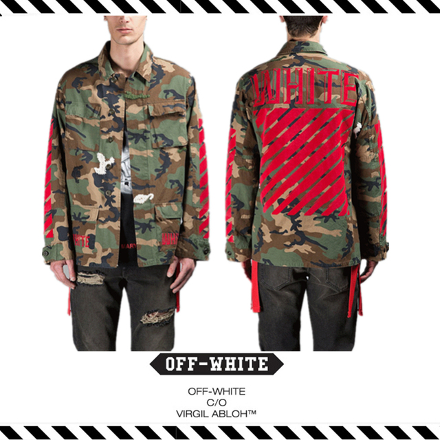 92181d86c8c3 Best Version 2016 Fall Winter OFFWHITE C O Virgil Abloh All Red Flocked Camo  Army Military Jacket Camouflage Justin Bieber Men