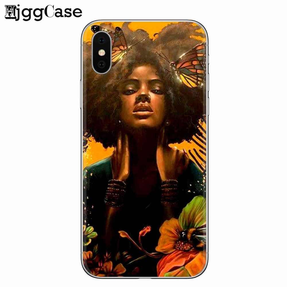 アフロ女の子ソフトシリコーン電話カバーケース iphone 7 7 プラス 5 5 s SE 6 6 s 8 プラス X 2 bunz メラニンポッピン Aba 黒女性アートケース