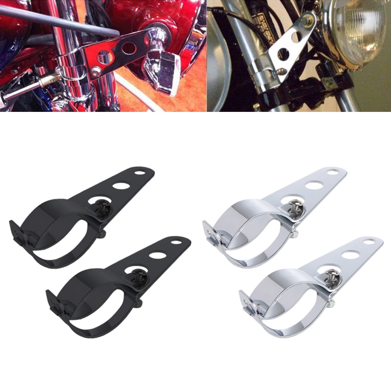 Image 2 - 2 Pcs Universal 33 45mm Motorcycle Headlight Mount Bracket Fork Ears For Bobber Cafe Racer High Quality Sliver-in Headlight Bracket from Automobiles & Motorcycles