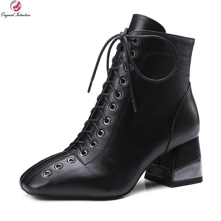 Original Intention New Stylish Women Ankle Boots Real Leather Square Toe Square Heels Boots Black Shoes Woman US Size 4-10.5 women vintage square toe real leather half boots fashion woman transparent square heels shoes heeled footwear size 34 39 n00139