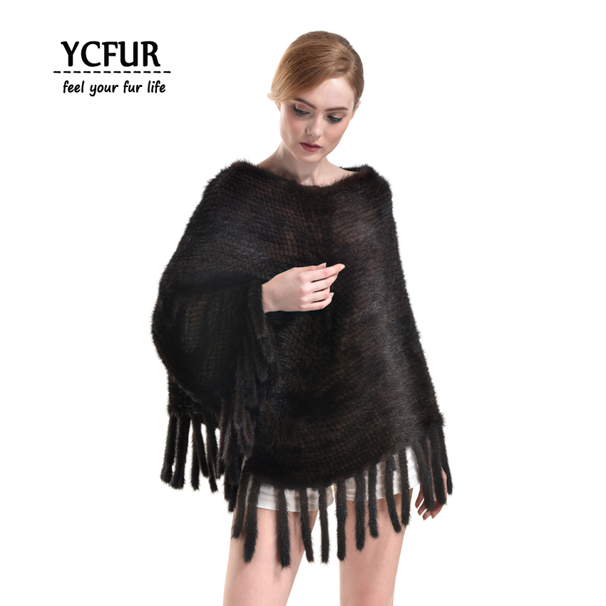 [YCFUR] Fashion Women Poncho Shawl Winter Knit Mink Fur Shawls Stoles Tassels Trendy Ladies   Scarves     Wraps