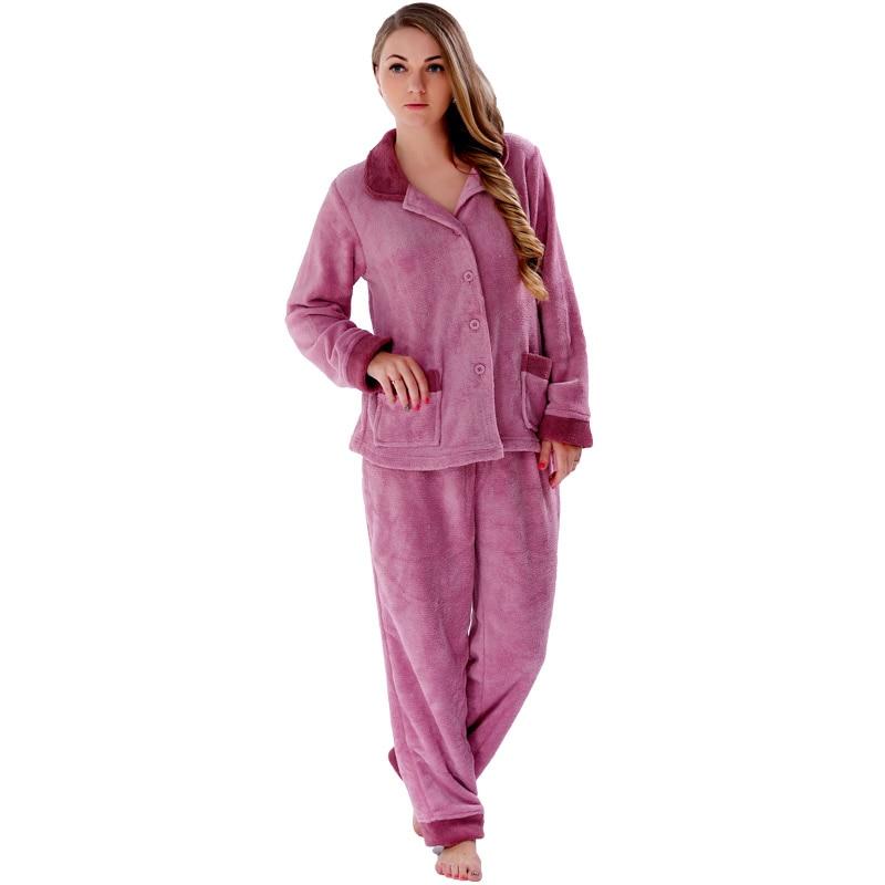 Ladies Winter Warm Coral Fleece Pajamas Sets Plus Size -6295