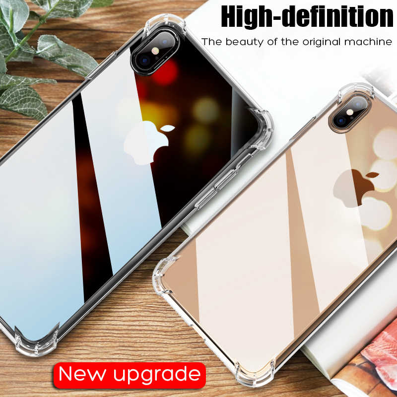 Uslion Shockproof Armor Clear Case untuk iPhone 11 Pro Max X Max XR X 8 7 6 6S PLUS 5 5S SE Ponsel Transparan Kasus Airbag Cover