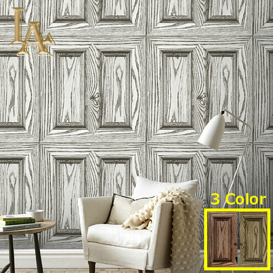 Wood Grain Wallpaper Waterproof Old Furniture Vinyl Stickers Wooden Door Wardrobe Desktop PVC Wall papers