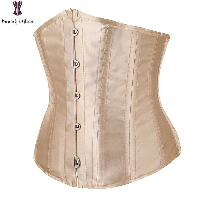 Waist Trainer Bustier Satin Women Front Buckle Closure Elastic Boned Corselet Top