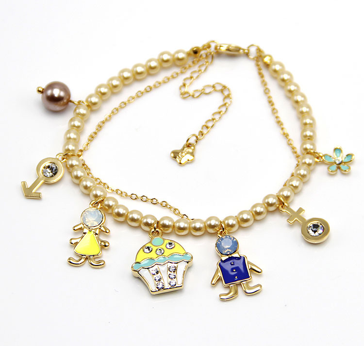 Fashion Popular Mulit Charms pearl bracelets with ice cream and girl and bouy pendants