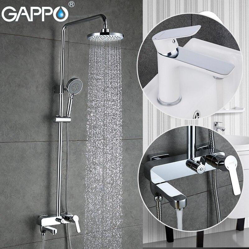 GAPPO douche robinet salle de bains bassin mitigeur cascade robinet de bain tête de douche en laiton pluie douche ensemble