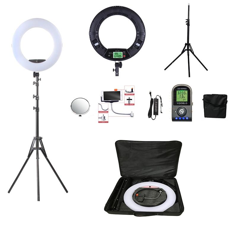 Yidoblo Black FE 480II 5600K Dimmable Camera Ring Light 480 LED Video Light Lamp LCD RC