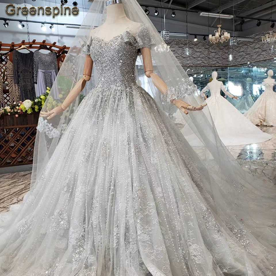 Greenspine Luxury Pearl Wedding Dress A Line 2019 Indian Bridal