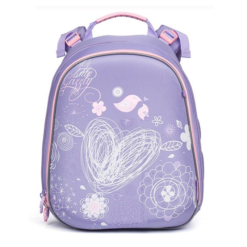 Quality Orthopedic School Bag Bird print Children Backpack For Girls zipper Russian Style Hard Cover Bag Primary mochila escola