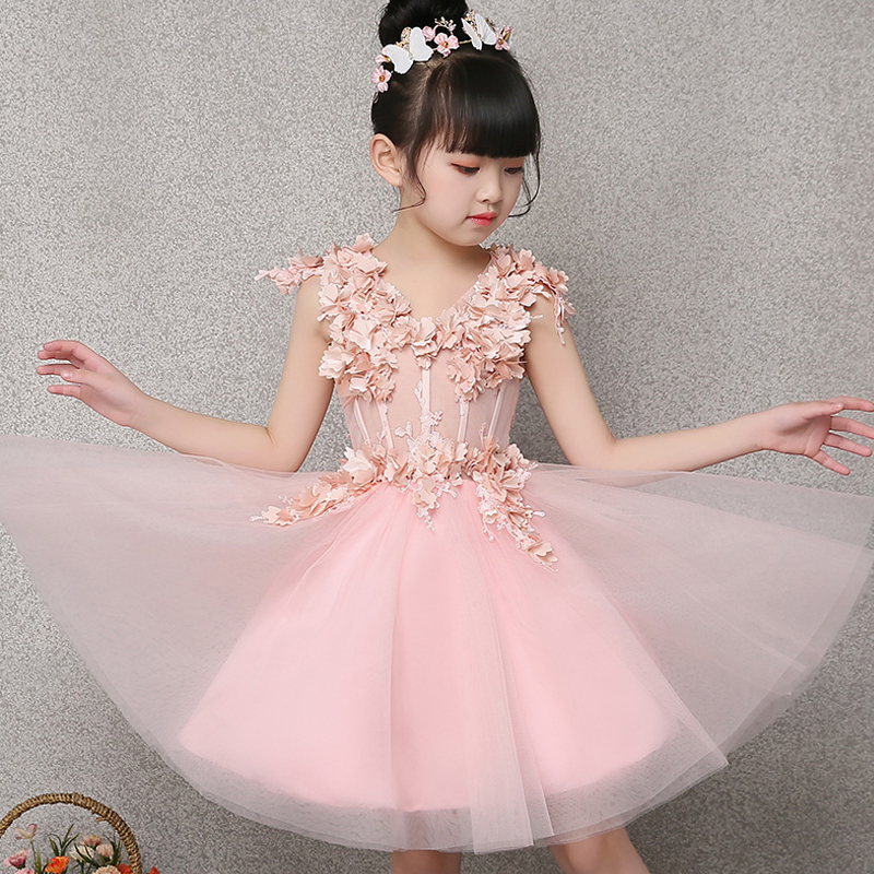 Flower Girl Dress Appliques Pink Ball Gown Evening Party Dresses Kids Pageant Gown Princess Dress Children Communion Gown E274