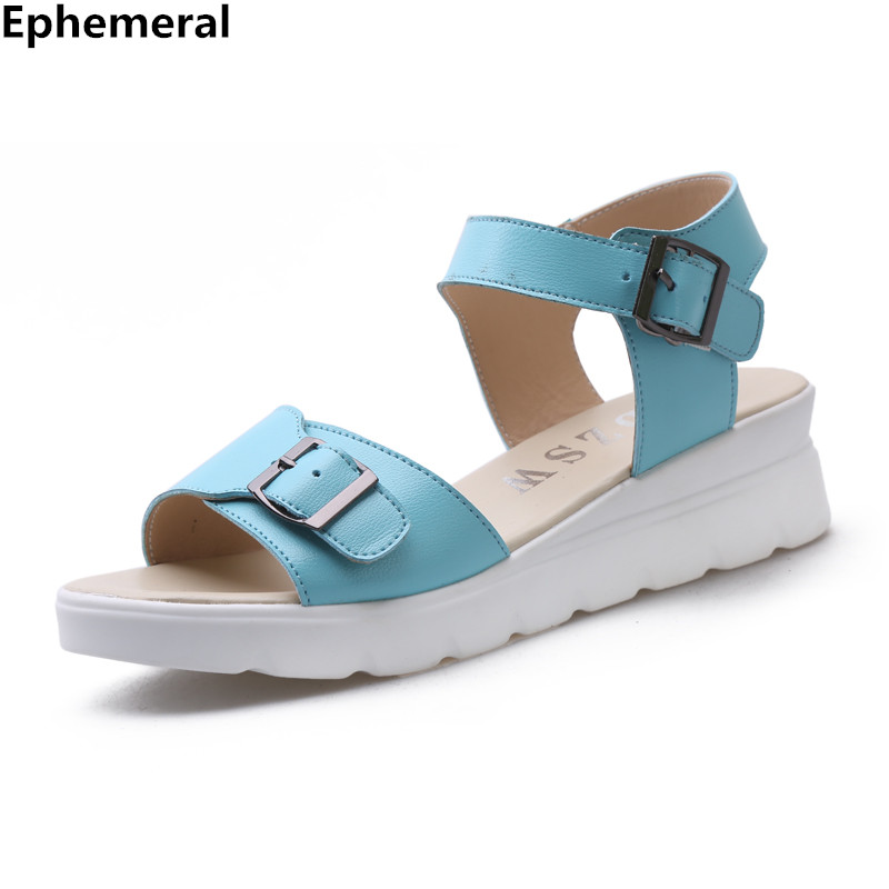 Woman buckle strap sandals thick heels with platform Ladies soft leather shoes open toe plus size 10 11 12 blue black cute style  ephemeral ladies zip sandals with heels buckle strap open toe summer casual shoes woman spongy insole plus size 11 12 white pink