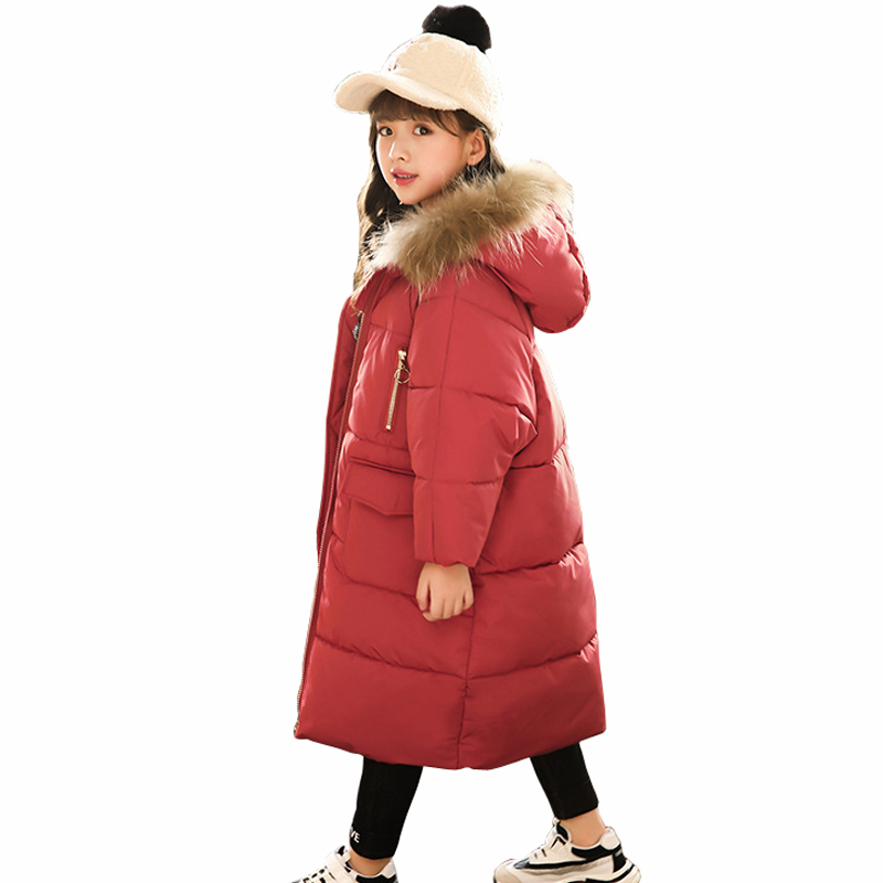 Winter Jacket for Girls Fur Hooded Girls Outerwear Coat 2018 Children Down Cotton Parkas Long Coat RT204 button tab cuffs hooded belted coat