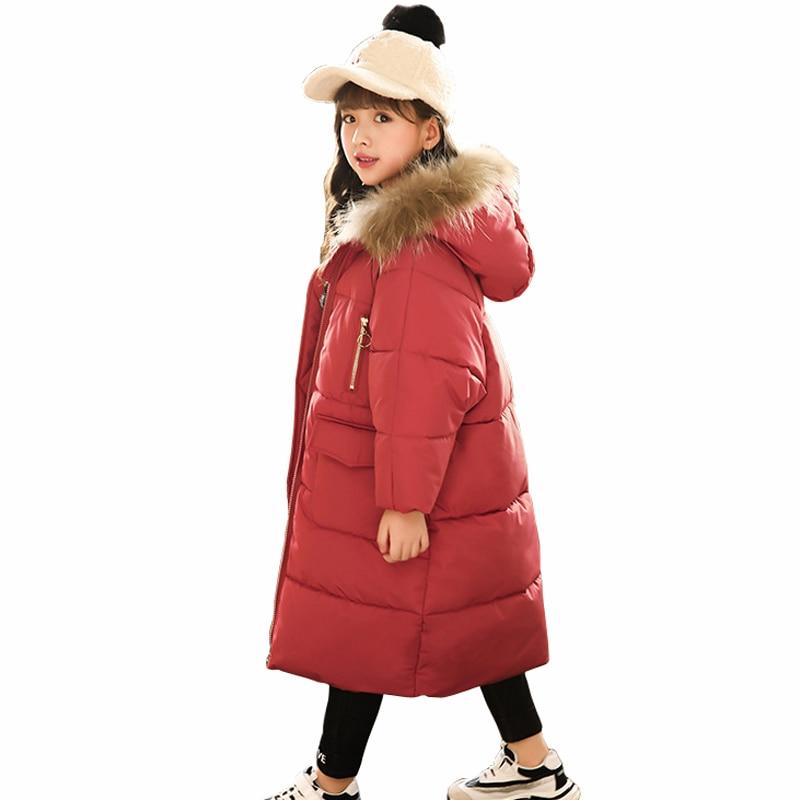 Winter Jacket for Girls Fur Hooded Girls Outerwear Coat 2018 Children Down Cotton Parkas Long Coat RT204 fashion children winter coat long down jacket for girl long parkas kids hooded color raccoon fur collar coat zipper outerwear