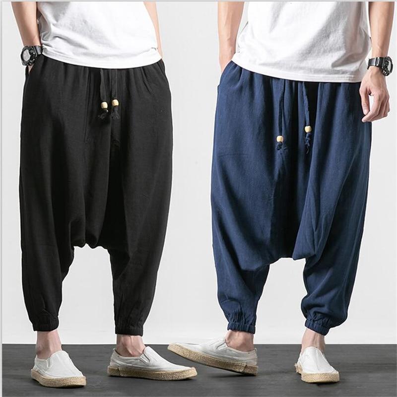New Japan Style Men Baggy Dancing Pants Cotton Linen Harem Trousers Pure Drawstring Cross-Pants Plus Size M-7XL