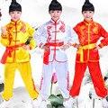 Crianças Roupas Amarelo Branco Vermelho Traje Chinês Kung Fu Wushu Desempenho Roupas Terno Artes Marciais Traje para As Crianças