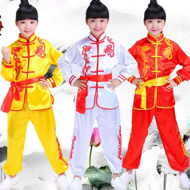 Niños Wushu Ropa del Funcionamiento Blanco Amarillo Rojo Traje Chino Juego de la Ropa de Artes Marciales Kung Fu Traje para Los Niños