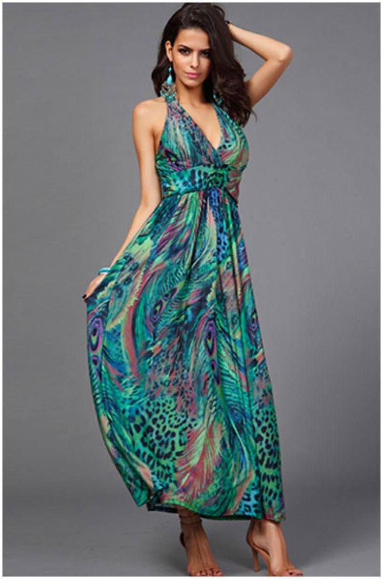 2015 Bohemia Women Beach Long Maxi Dress fashion color printing V ...