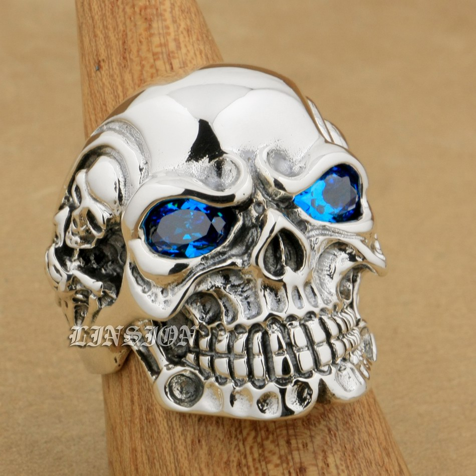 Taille américaine 8 ~ 15 bleu CZ pierre yeux solide 925 en argent Sterling Titan crâne hommes Biker Rock Punk anneau 8V305