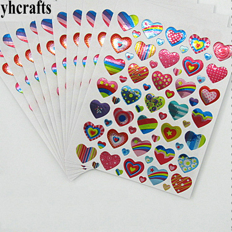 10sheets(350PCS)/LOT,Laser Hearts Paper Stickers Early Educational Craft Diy Toy Scrapbooking Kit School Reward Label Creative