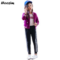 Purple Sport Suit For Girls 7 8 9 10 11 Years Fashion Letter Jacket+Cotton T Shirt+Pants Children Autumn Girls Clothing Set 3PCS