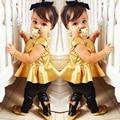 Детская одежда new baby девушки мода костюм дети одежда наборы рубашка + legging брюки случайные коротким рукавом рубашки 2 шт./компл.